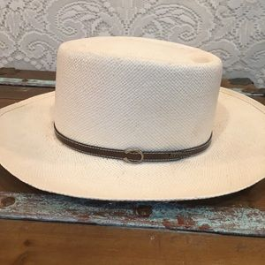 Vintage white Straw Stetson Cowgirl Hat horseshoe